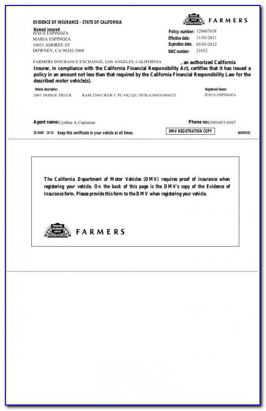Proof Of Insurance Card Template Free