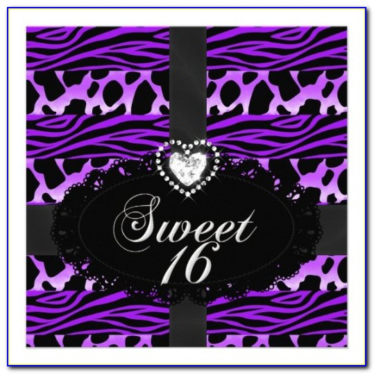 Purple And Silver Sweet 16 Invitations