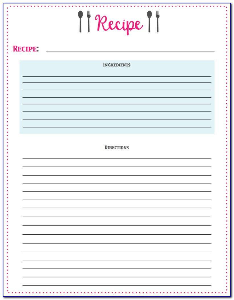 Recipe Card Template For Pages Free