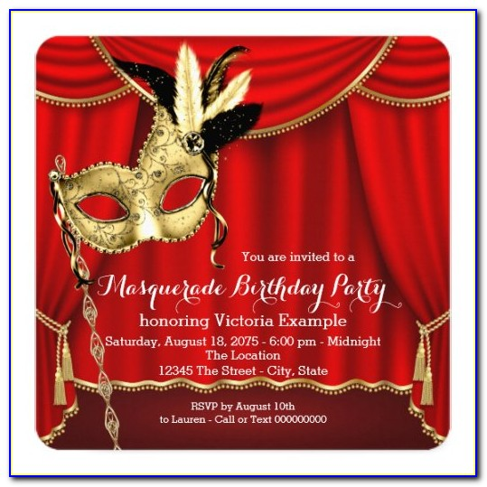 Red Black And Gold Birthday Invitation Template