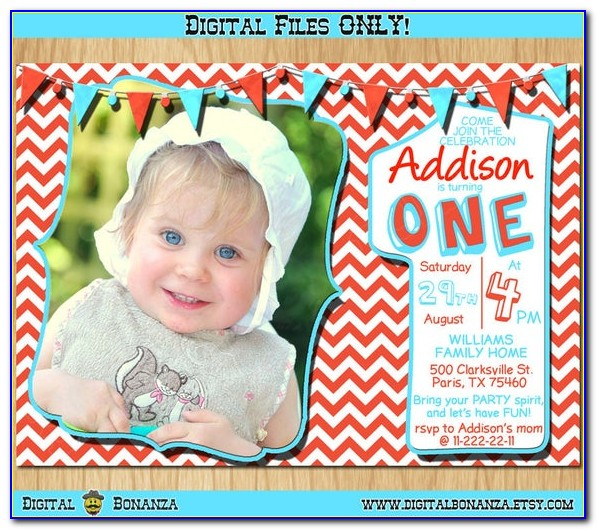 Red White And Blue 1st Birthday Invitations