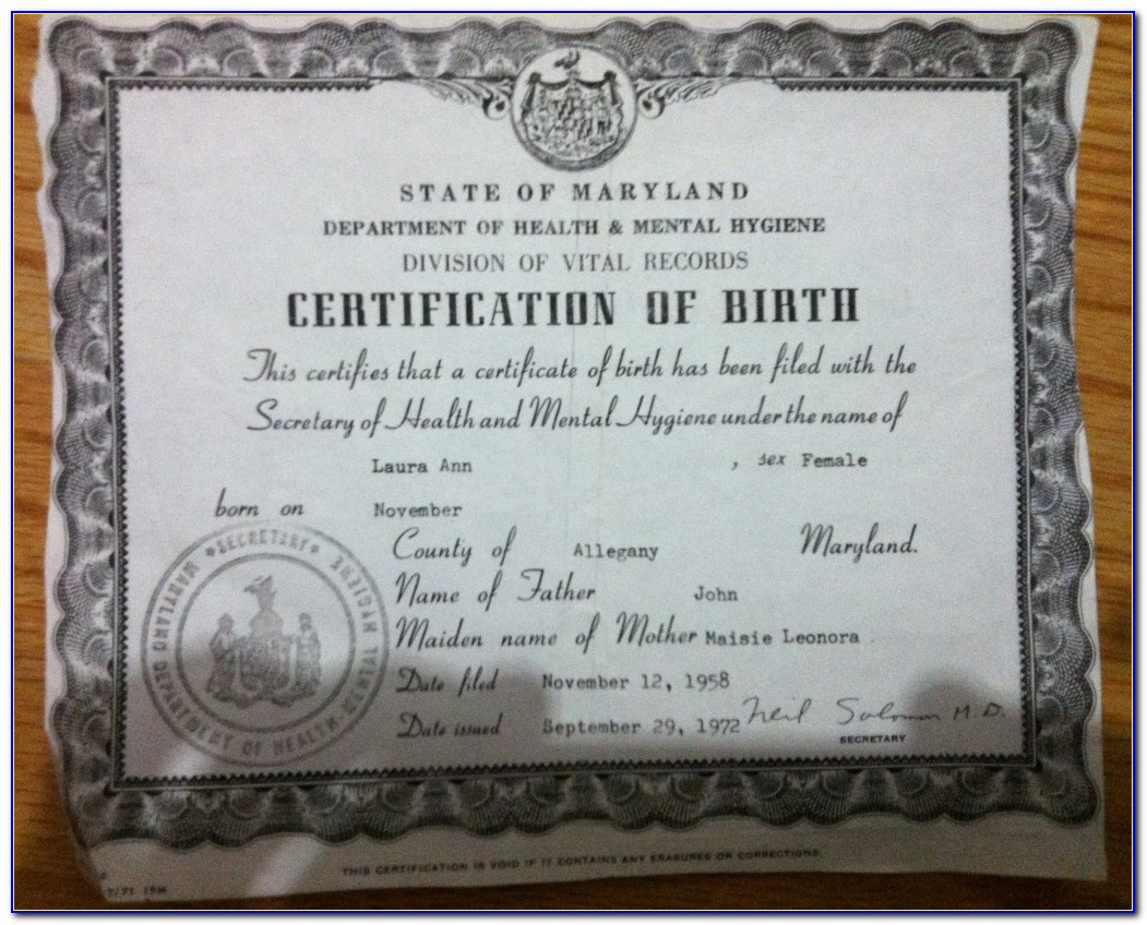 Replacement Birth Certificate Md Cost