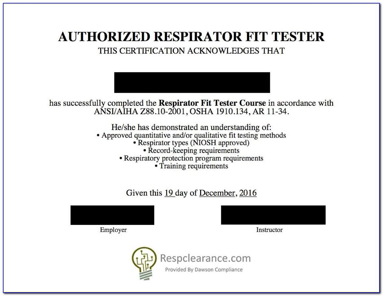 Respirator Fit Test Card Template