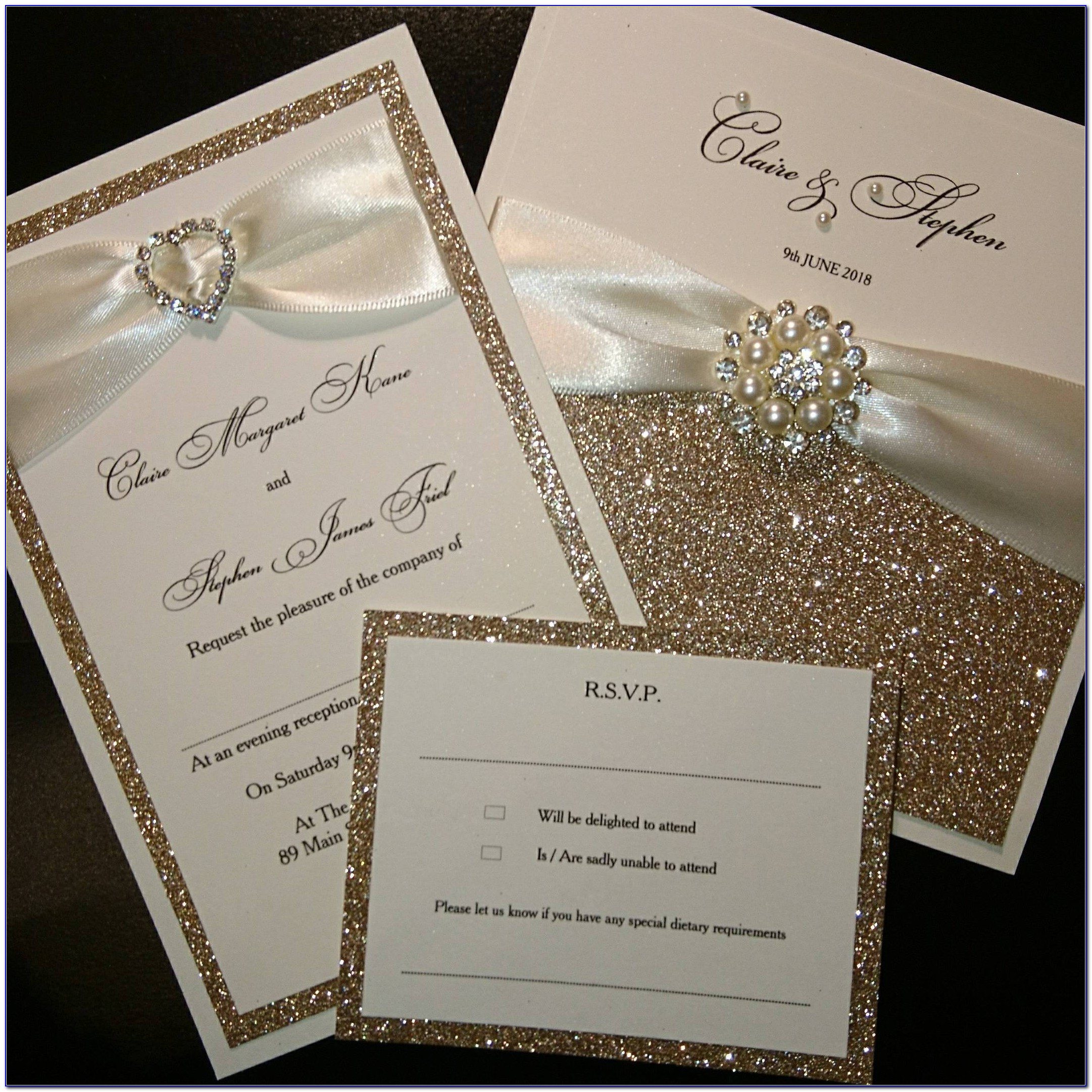 Rose Gold And Champagne Wedding Invitations