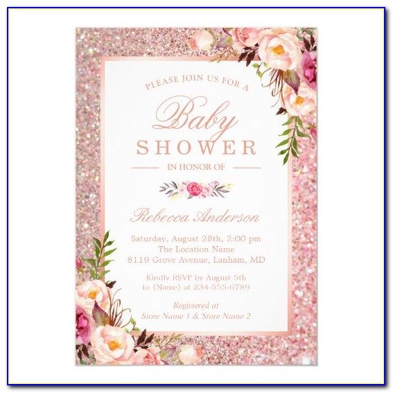 Rose Gold Invitations For Baby Shower
