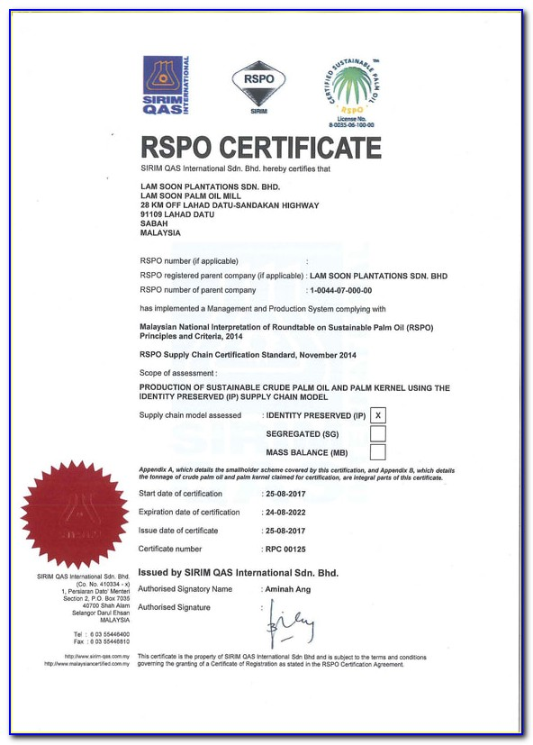 Rspo Supply Chain Certification Standard 2020