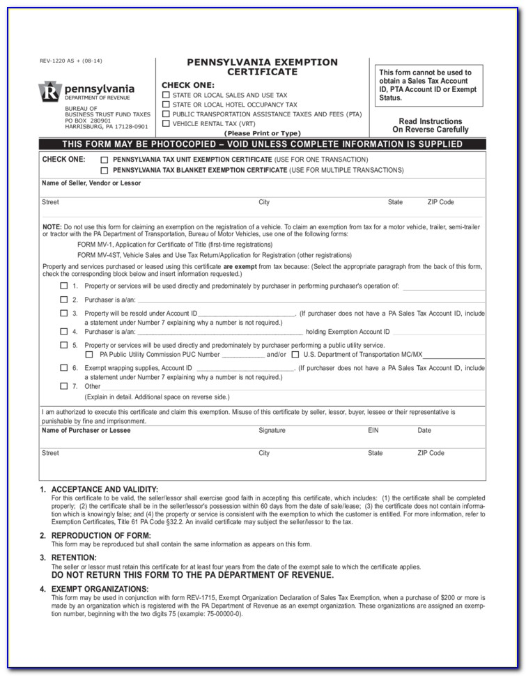 Sales And Use Tax Blanket Exemption Certificate Illinois