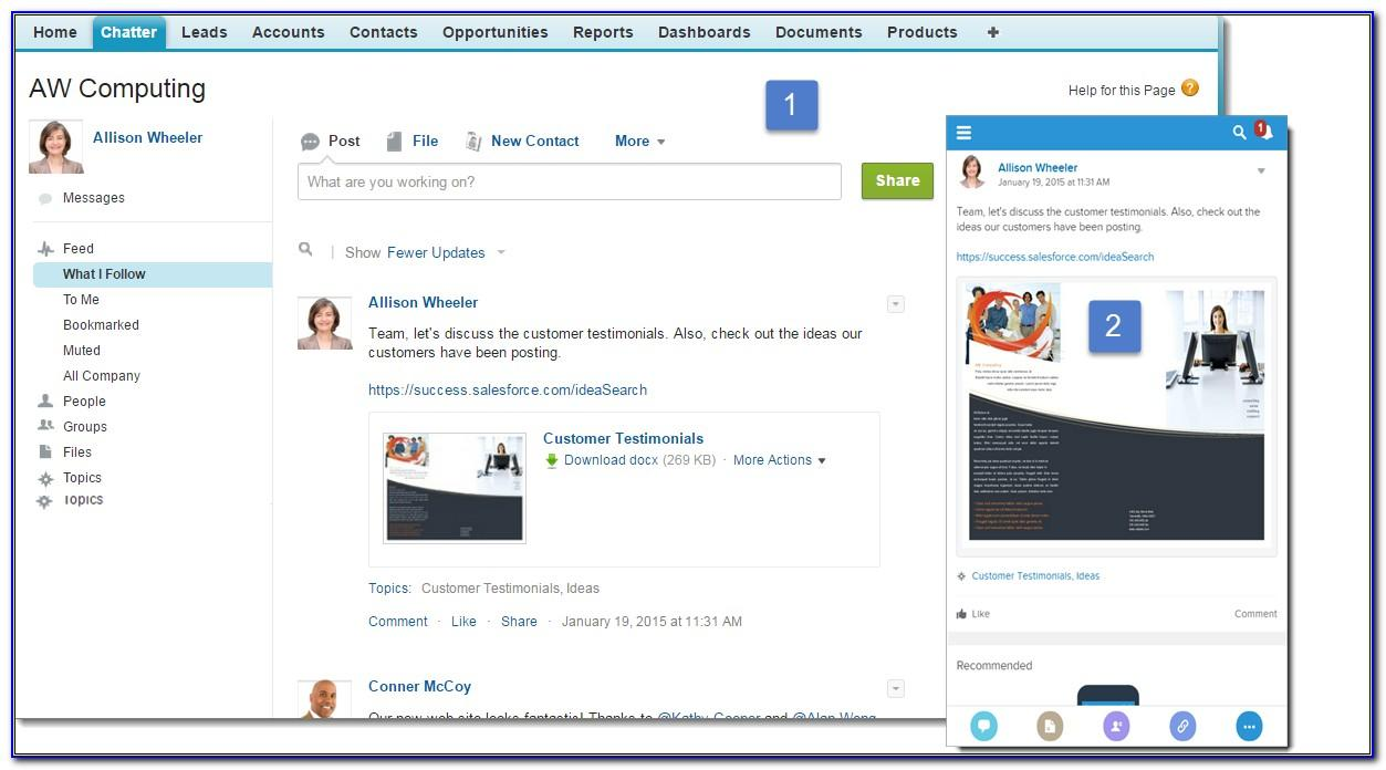 Salesforce Chatter Announcements