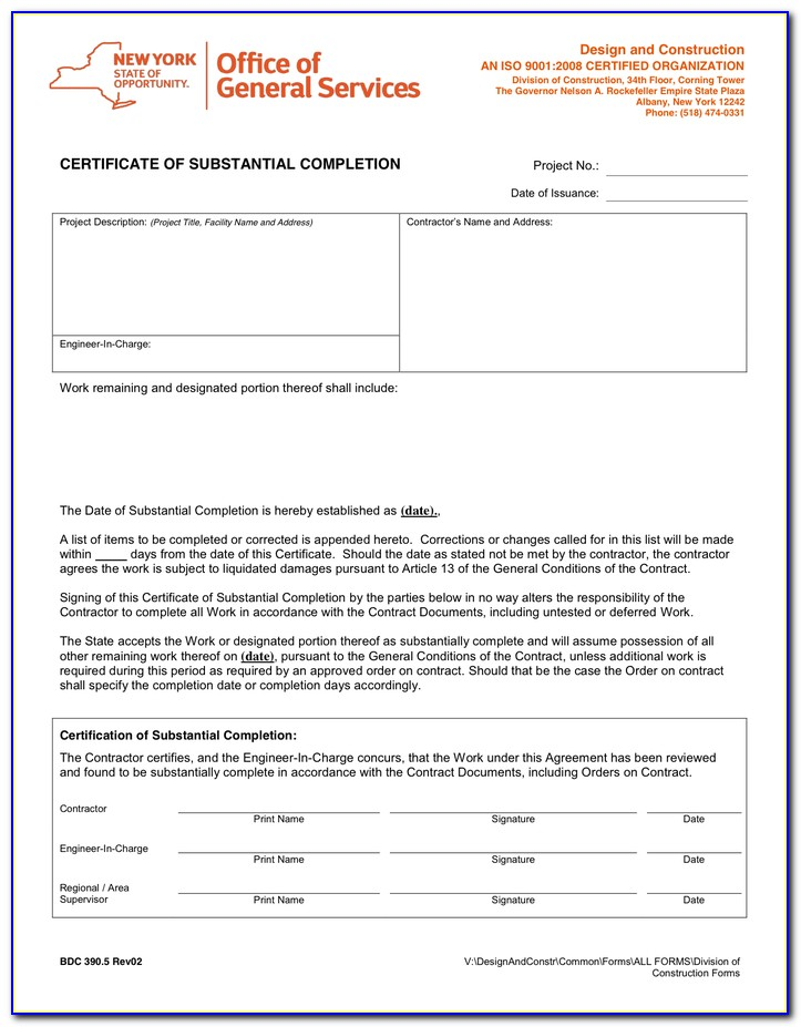 Sample Aia Certificate Of Substantial Completion
