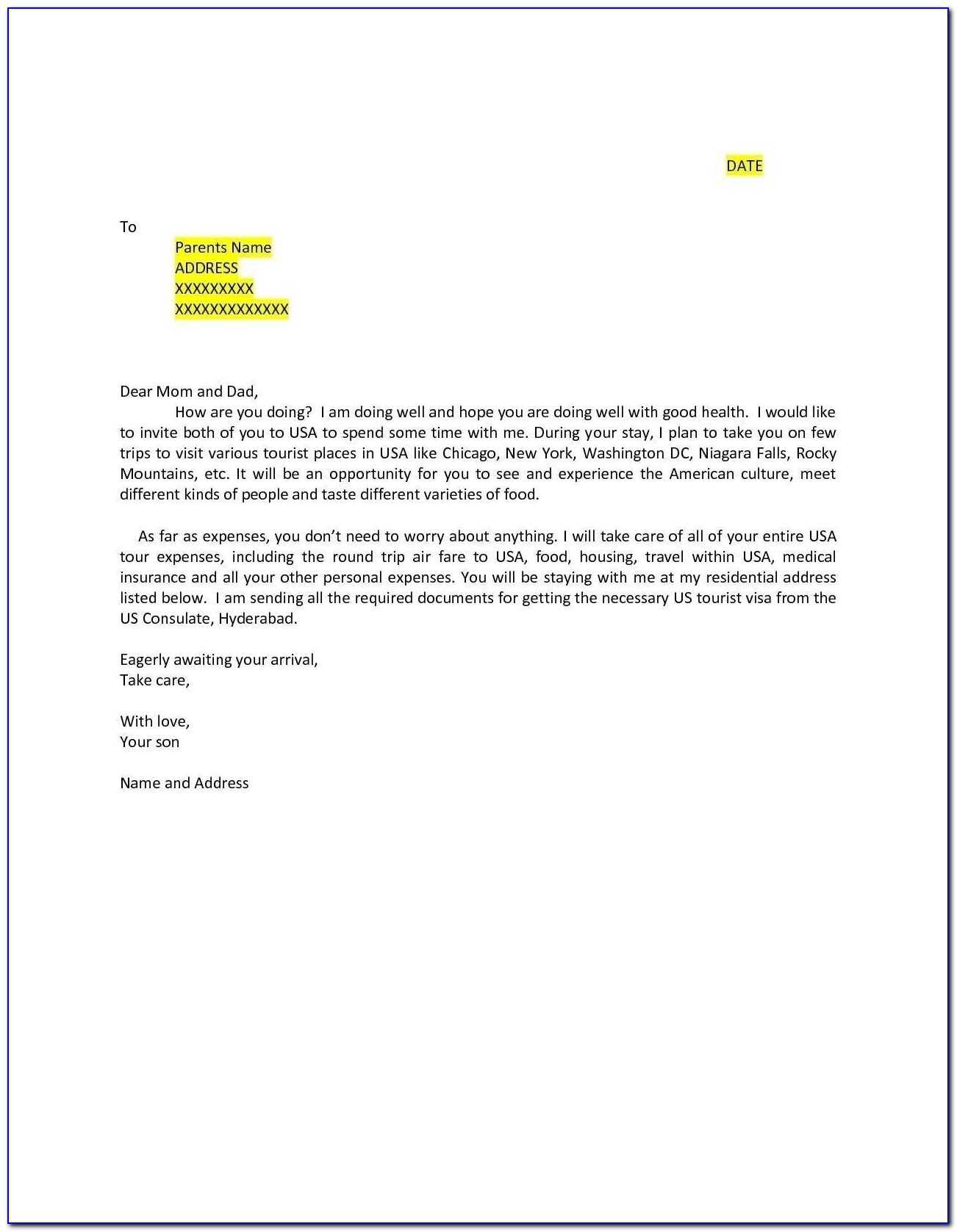 Sample Invitation Letter For Uk Family Visitor Visa