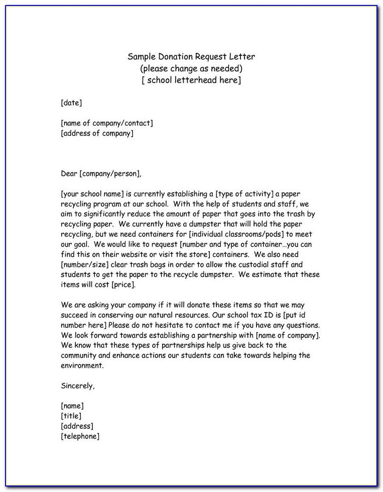 Sample Letter Asking For Donations For School Building