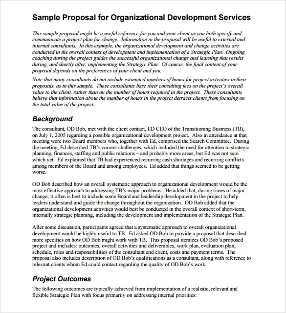 Sample Proposal Template For Services