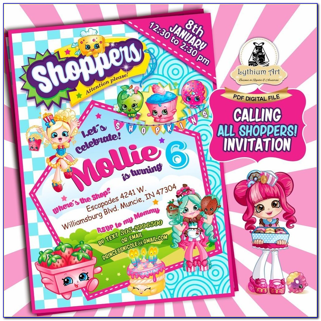 Shopkins Free Digital Invitations For Download