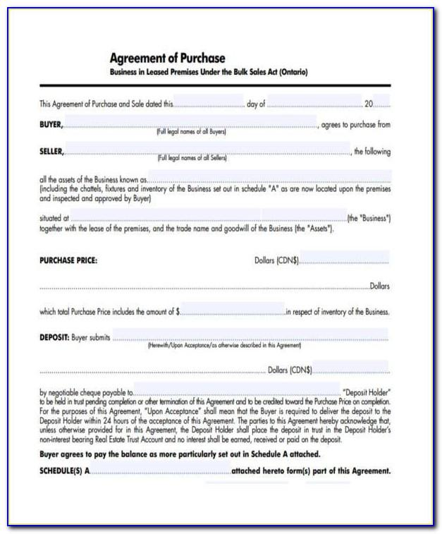 Small Business Purchase Agreement Template Uk