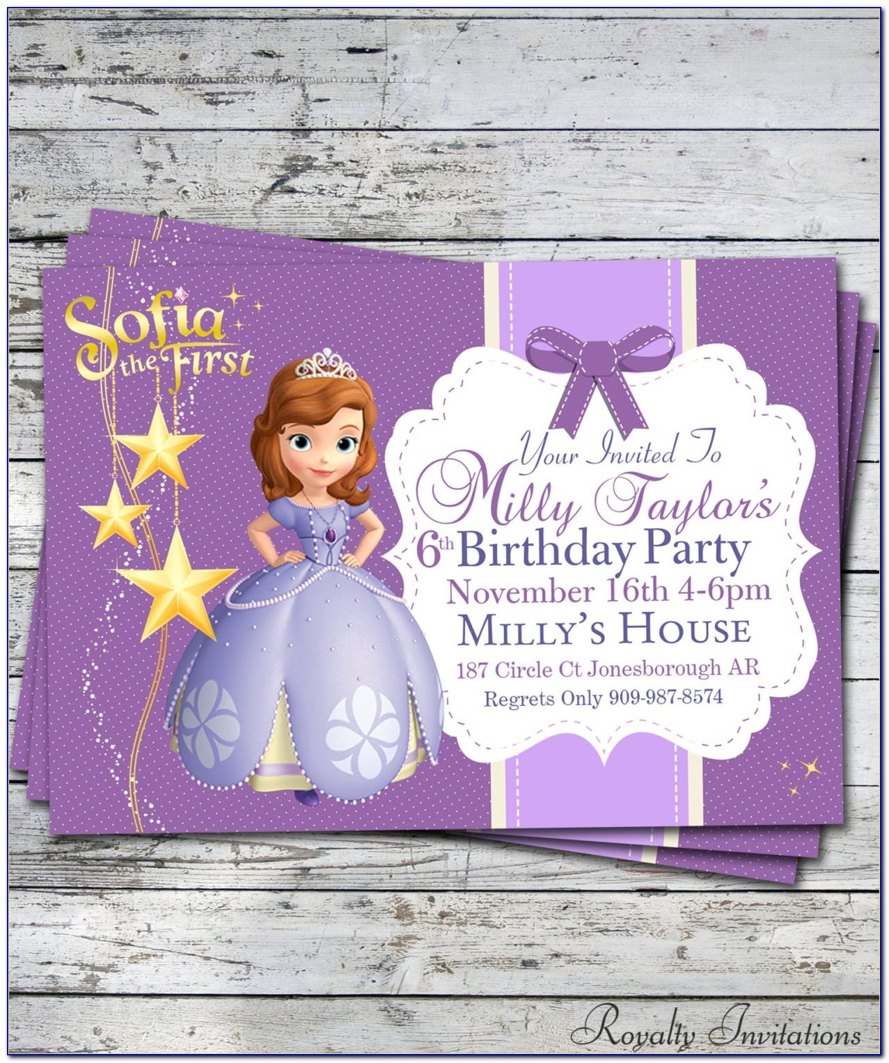 Sofia The First Birthday Party Invitations Template