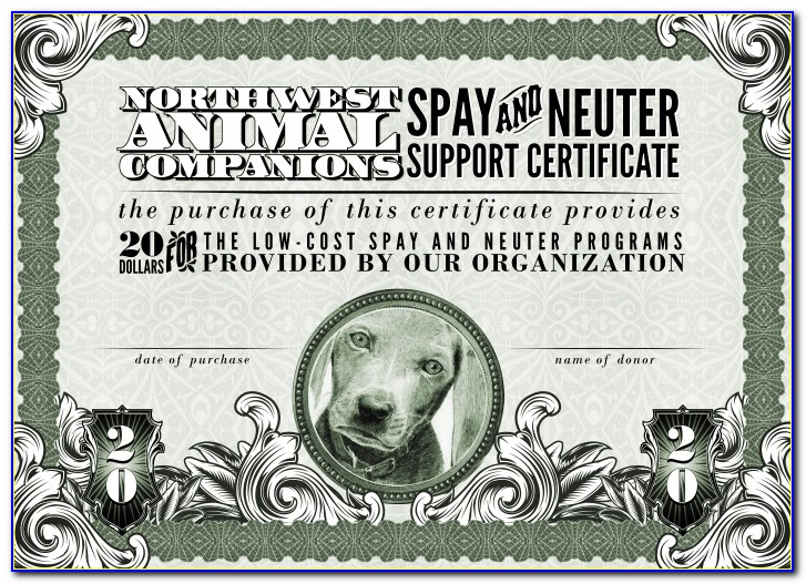 Spay And Neuter Discount Certificates