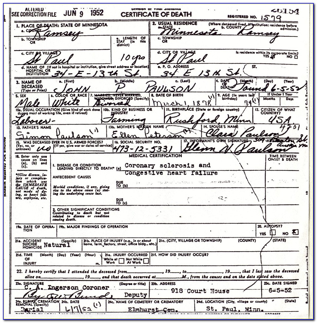 St Louis County Mn Death Certificates