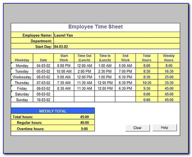 Staff Monthly Timesheet Template