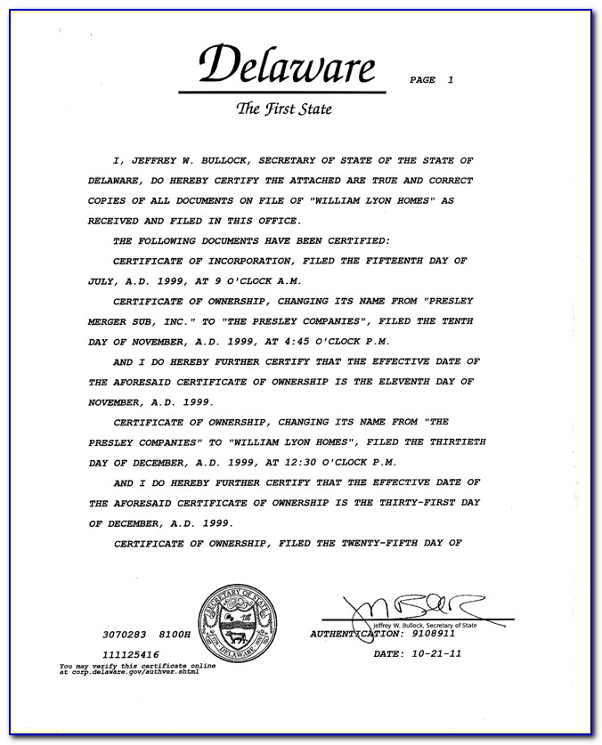 State Of Delaware Llc Certificate Of Formation