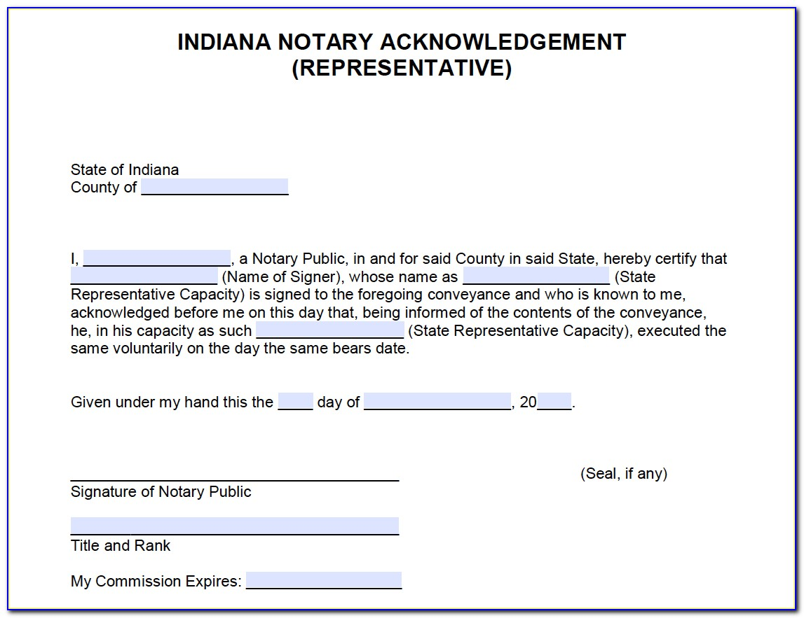State Of Indiana Notary Certificate