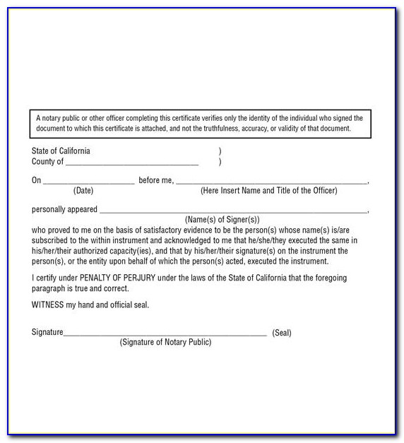 State Of Oregon Notary Certificate