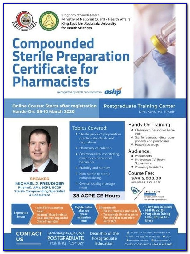Sterile Compounding Certification For Pharmacists