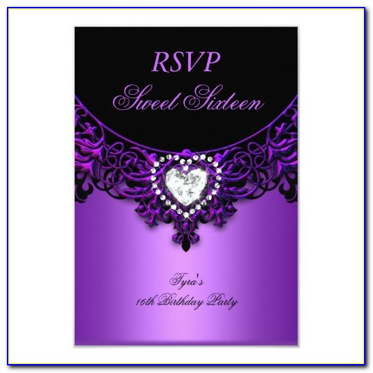 Sweet 16 Invitations With Response Cards