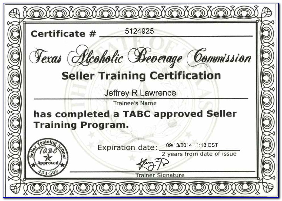 Tabc And Food Handlers Certification