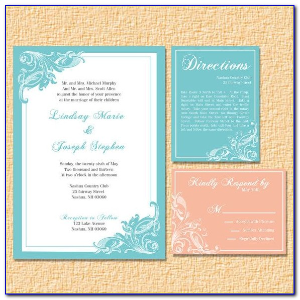 Teal And Peach Wedding Invitations