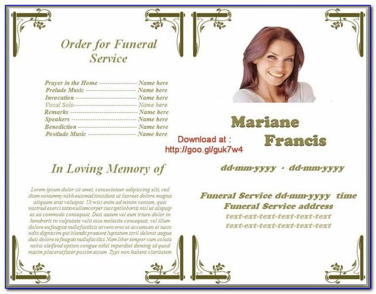 Template For Memorial Service Programme