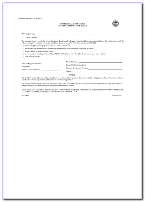 Tennessee Resale Certificate Pdf