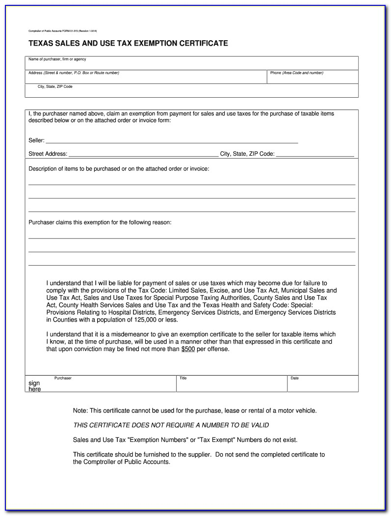 Texas Ag Exemption Certificate