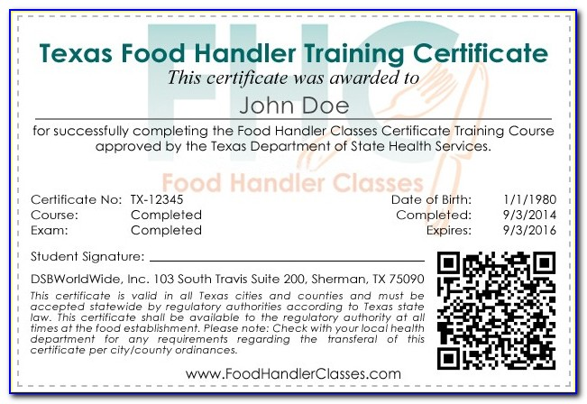 Texas Food Handlers And Tabc Certification Online