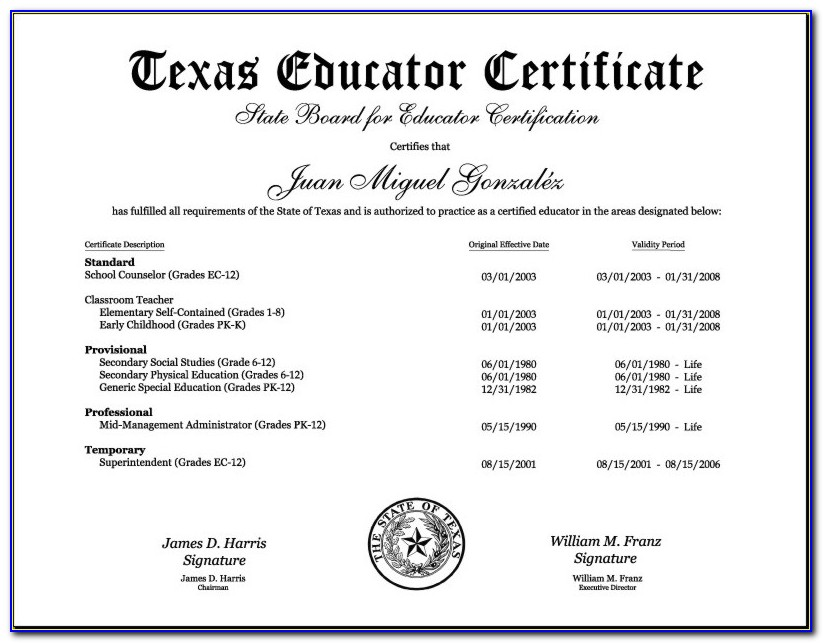 Texas State Certification Test