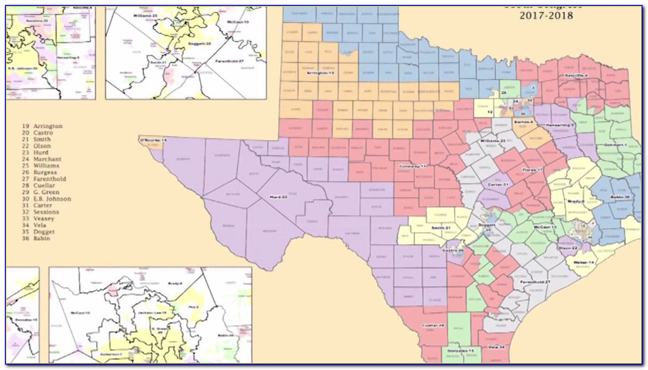 Texas State Congressional Districts Map 2018