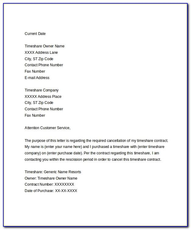 Timeshare Cancellation Letter Template