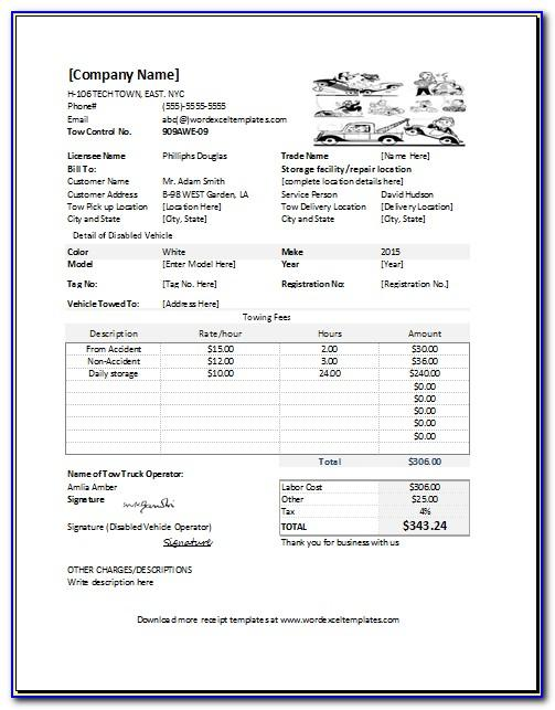 Towing Invoices Template