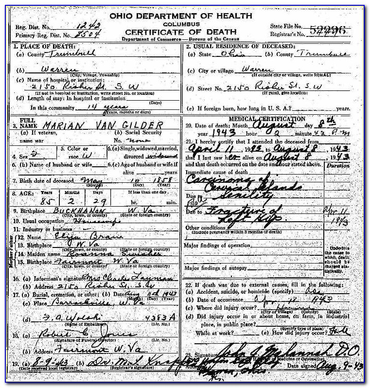 Trumbull County Death Certificates