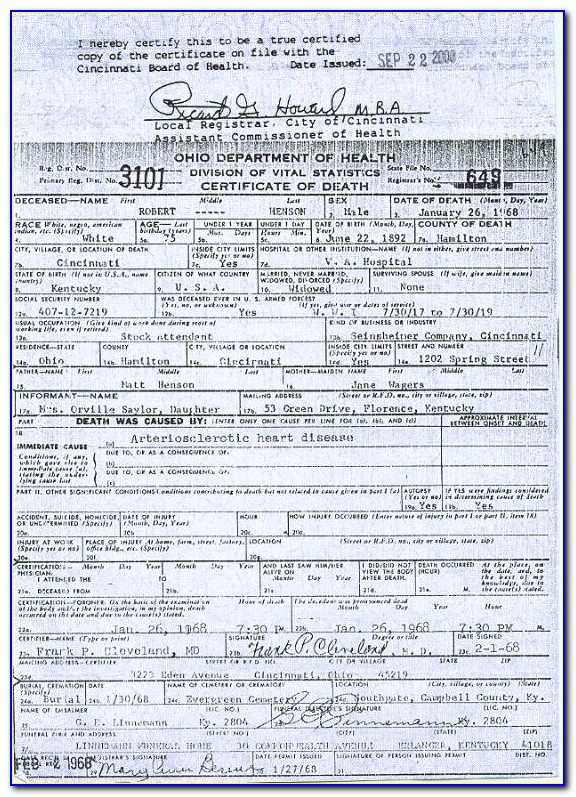 Trumbull County Health Department Death Certificates