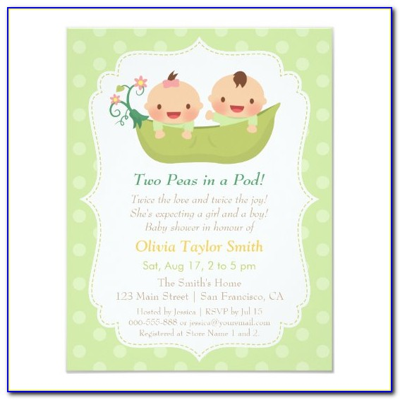Twins Baby Shower Invitations Templates Free