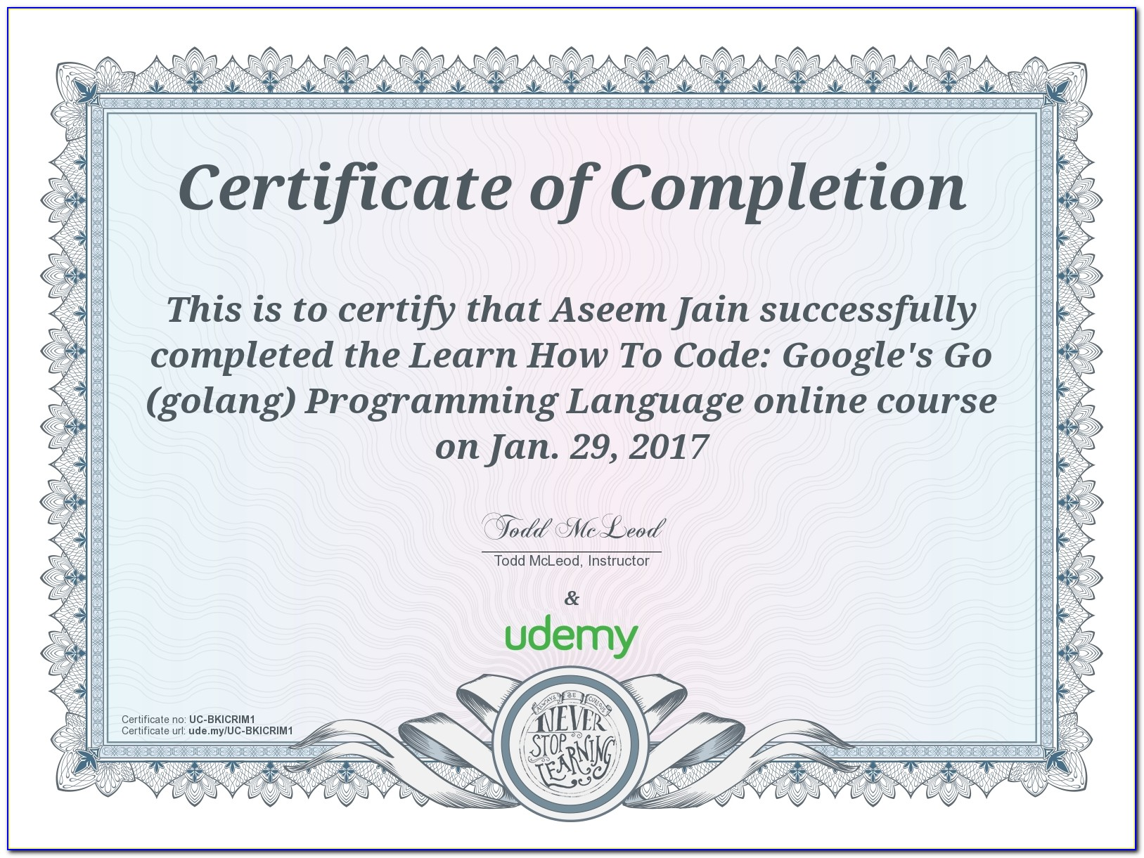 Udemy Certificate Of Completion Pdf