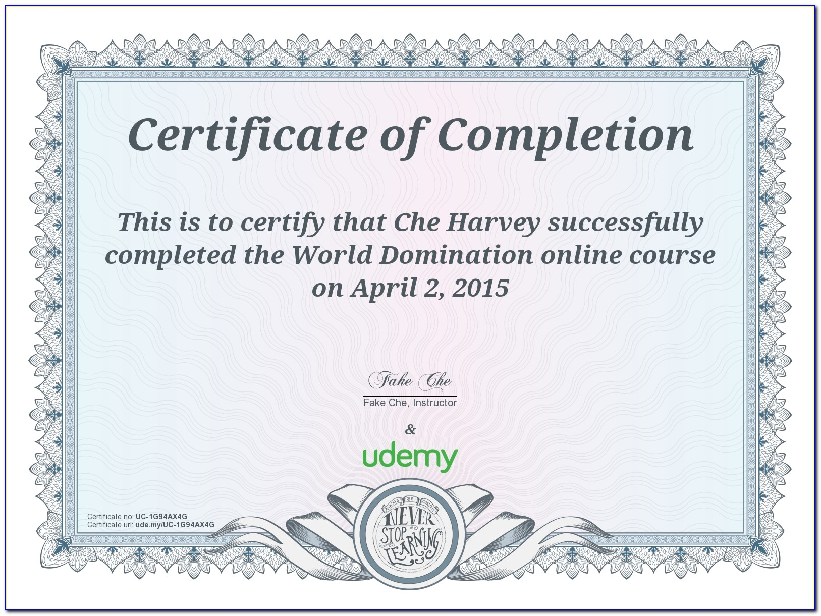 Udemy Certificate Of Completion Template