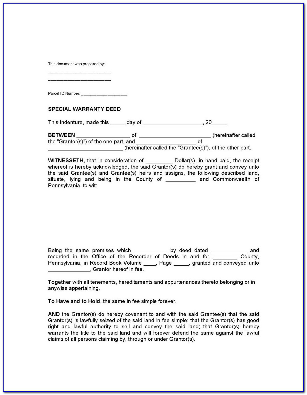 Warranty Deed With Vendors Lien Form Texas