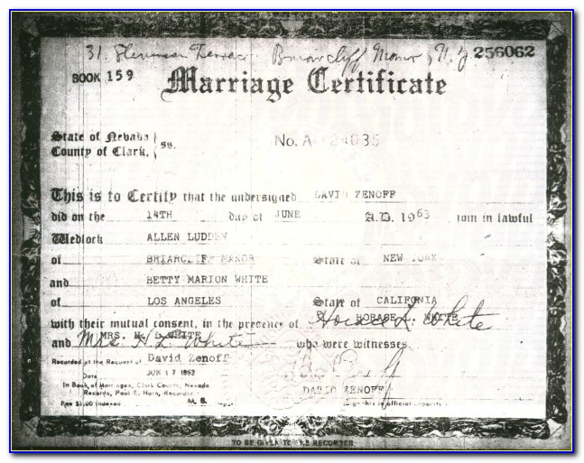 Washoe County Marriage License Copy