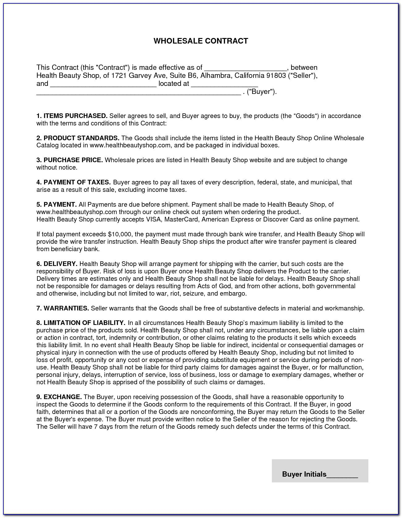 Wholesale Purchase Contract Template