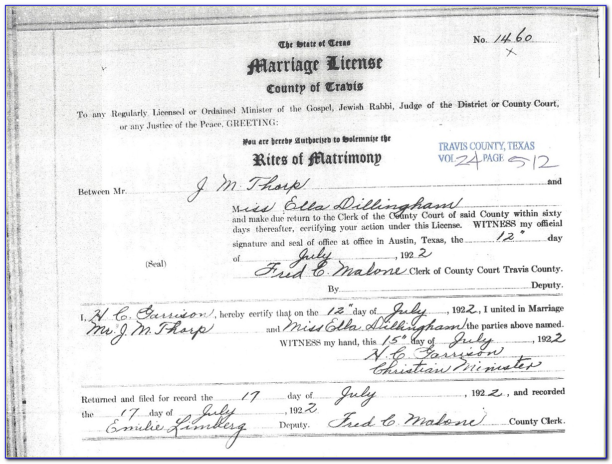 Williamson County Courthouse Birth Certificate