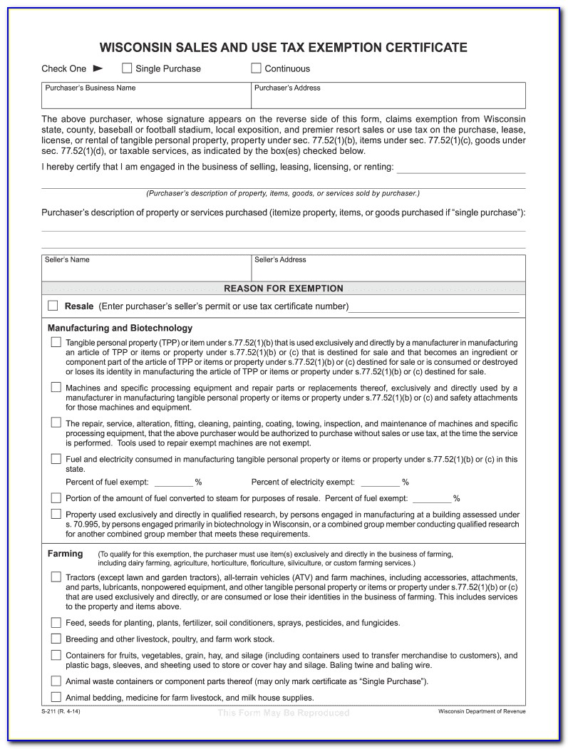 Wisconsin Sales And Use Tax Exemption Certificate 2018
