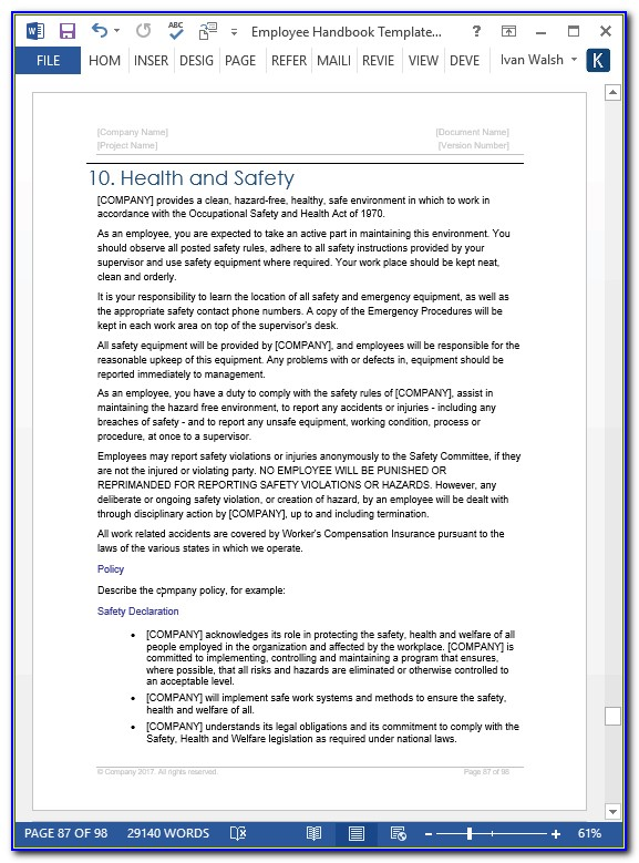 Workplace Health And Safety Manual Template Qld