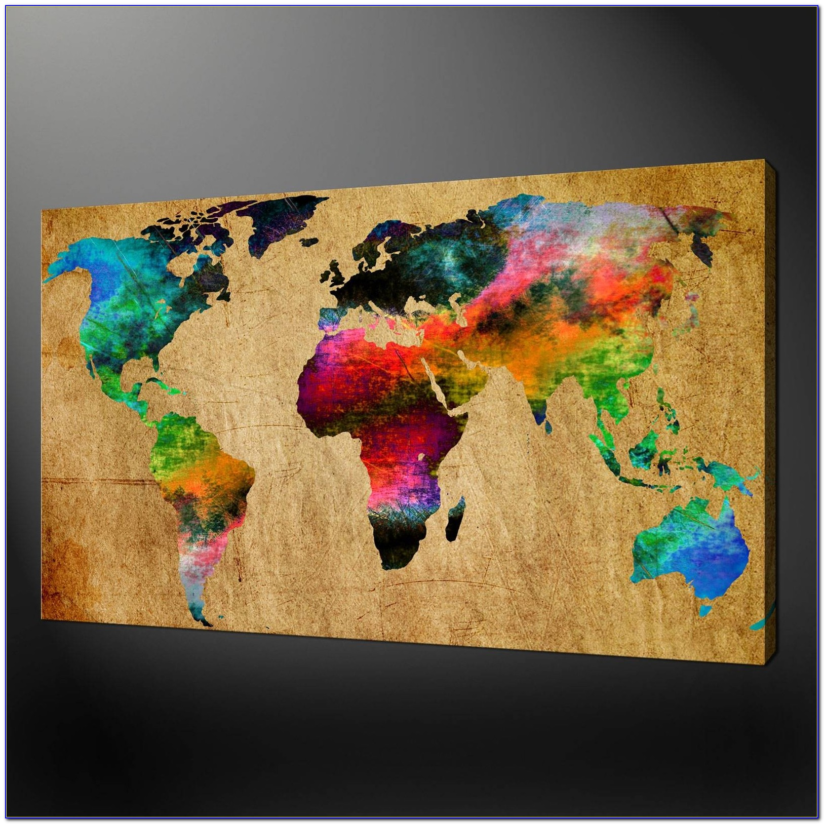 World Map Canvas Wall Art Picture Print With Latest World Map Wall Art Canvas