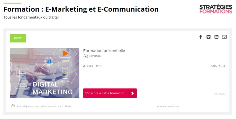 Formation : E-Marketing et E-Communication  pour  Comundi / Stratégies Formation